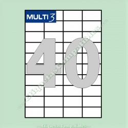 100 Hojas A4 Multi3 con 40 Etiquetas de 52,5 x 29,7 mm