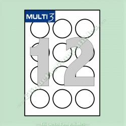 100 Hojas A4 Multi3 con 12 Etiquetas de Ø 60 mm