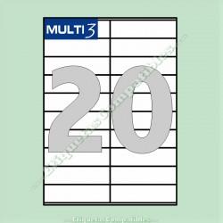 100 Hojas A4 Multi3 con 20 Etiquetas de 105 x 29 mm