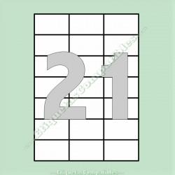 100 Hojas A4 con 21 Etiquetas de 70 x 42,4 mm