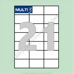 100 Hojas A4 Multi3 con 21 Etiquetas de 70 x 42,4 mm