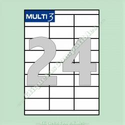 100 Hojas A4 Multi3 con 24 Etiquetas de 70 x 33,8 mm