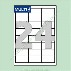 100 Hojas A4 Multi3 con 24 Etiquetas de 64,6 x 33,8 mm