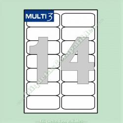 100 Hojas A4 Multi3 con 14 Etiquetas de 99,1 x 38,1 mm