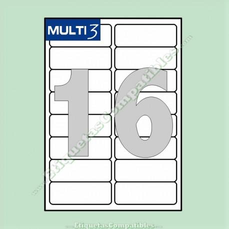 100 Hojas A4 Multi3 con 16 Etiquetas de 99,1 x 34 mm