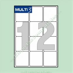100 Hojas A4 Multi3 con 12 Etiquetas de 63,5 x 72 mm