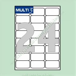 100 Hojas A4 Multi3 con 24 Etiquetas de 64 x 33,9 mm