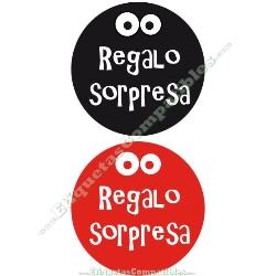 """250 Etiquetas """"Regalo Sorpresa"""" Rojo / Negro"""