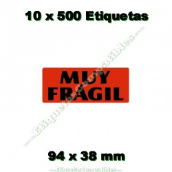 "10 Rollos 500 Etiquetas ""Muy frágil"""