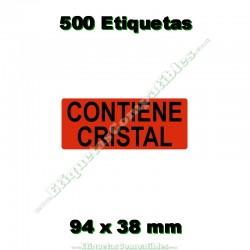 """1 Rollo 500 Etiquetas """"Contiene cristal"""""""