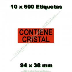 """10 Rollos 500 Etiquetas """"Contiene cristal"""""""
