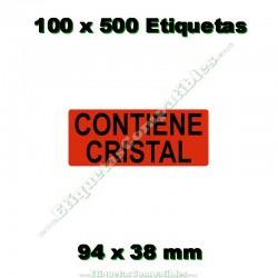 """100 Rollos 500 Etiquetas """"Contiene cristal"""""""
