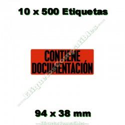 """10 Rollos 500 Etiquetas """"Contiene documentación"""""""
