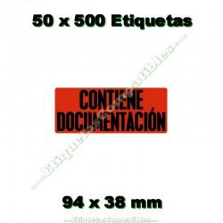 """50 Rollos 500 Etiquetas """"Contiene documentación"""""""