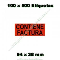 """100 Rollos 500 Etiquetas """"Contiene factura"""""""