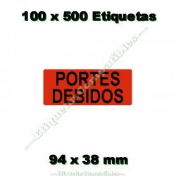 """100 Rollos 500 Etiquetas """"Portes debidos"""""""