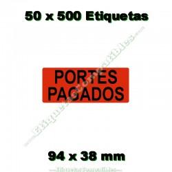 """50 Rollos 500 Etiquetas """"Portes pagados"""""""