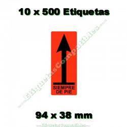 """10 Rollos 500 Etiquetas """"Siempre de pie"""""""