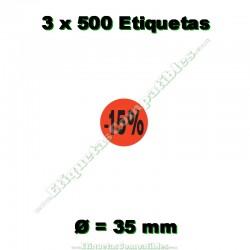 """3 Rollos 500 Etiquetas """"-15%"""""""