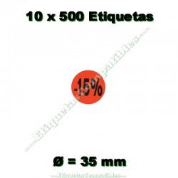 """10 Rollos 500 Etiquetas """"-15%"""""""
