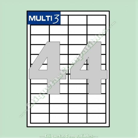 2000 Hojas A4 Multi3 con 44 Etiquetas de 48,5 x 25,4 mm