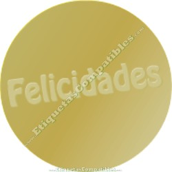 "500 Etiquetas ""Felicidades"" Oro Relieve"