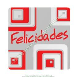 """250 Etiquetas """"Felicidades"""" Cuadrados"""