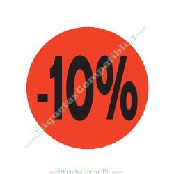 "1 Rollo 500 Etiquetas ""-10%"" Rojo Flúor"