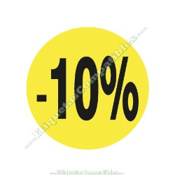 """1 Rollo 500 Etiquetas """"-10%"""" Amarillo Flúor"""