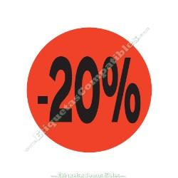 "1 Rollo 500 Etiquetas ""-20%"" Rojo Flúor"