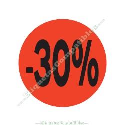 "1 Rollo 500 Etiquetas ""-30%"" Rojo Flúor"