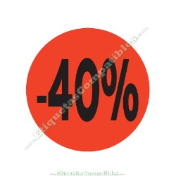 "1 Rollo 500 Etiquetas ""-40%"" Rojo Flúor"