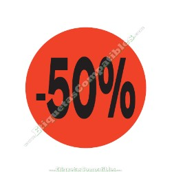 "1 Rollo 500 Etiquetas ""-50%"" Rojo Flúor"