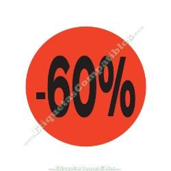 "1 Rollo 500 Etiquetas ""-60%"" Rojo Flúor"