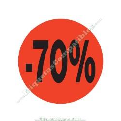 "1 Rollo 500 Etiquetas ""-70%"" Rojo Flúor"