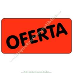 "1 Rollo 500 Etiquetas ""Oferta"" rectangulo rojo flúor"