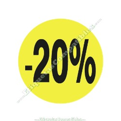 """1 Rollo 500 Etiquetas """"-20%"""" Amarillo Flúor"""