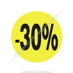 """1 Rollo 500 Etiquetas """"-30%"""" Amarillo Flúor"""