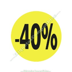 """1 Rollo 500 Etiquetas """"-40%"""" Amarillo Flúor"""
