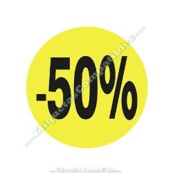 """1 Rollo 500 Etiquetas """"-50%"""" Amarillo Flúor"""
