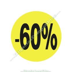 """1 Rollo 500 Etiquetas """"-60%"""" Amarillo Flúor"""