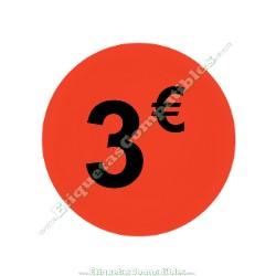 "1 Rollo 500 Etiquetas ""3 €"" Rojo Flúor"