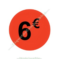 "1 Rollo 500 Etiquetas ""6 €"" Rojo Flúor"