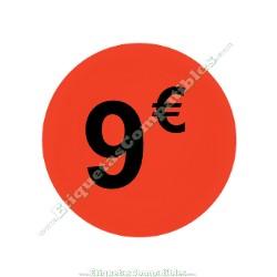 "1 Rollo 500 Etiquetas ""9 €"" Rojo Flúor"