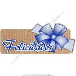 "500 Etiquetas ""Felicidades"" Kraft Azul"