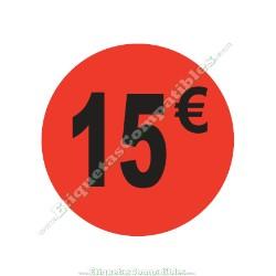 "1 Rollo 500 Etiquetas ""15 €"" Rojo Flúor"