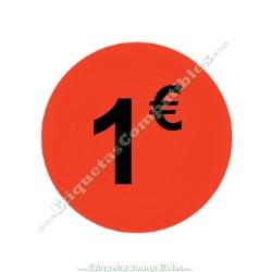 "1 Rollo 500 Etiquetas ""1 €"" Rojo Flúor"