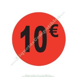 "1 Rollo 500 Etiquetas ""10 €"" Rojo Flúor"