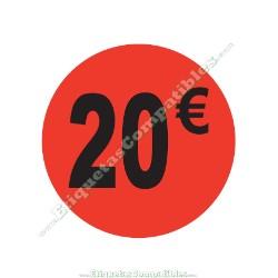 "1 Rollo 500 Etiquetas ""20 €"" Rojo Flúor"