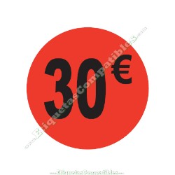 "1 Rollo 500 Etiquetas ""30 €"" Rojo Flúor"